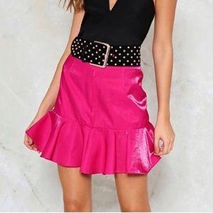 4 / Nasty Gal metallic pink ruffle skirt